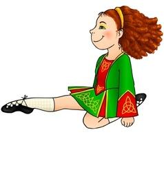 Irish dancing girl in traditional dress vector