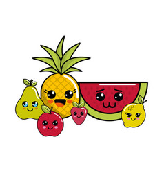 Kawaii happy fruits icon vector