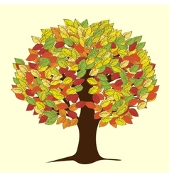 Large autumn tree with yellowed leaves vector