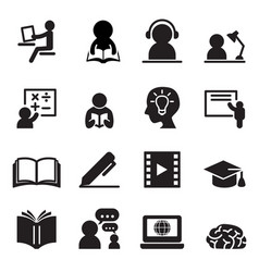 Learning icons set vector