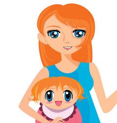 Manga girl with baby vector