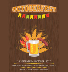 Octoberfest poster depicting beer mug and food vector
