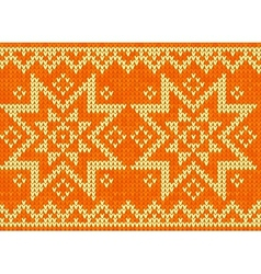 Orange knitted stars sweater in Norwegian style vector image