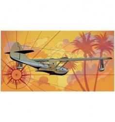 retro seaplane vector image vector image