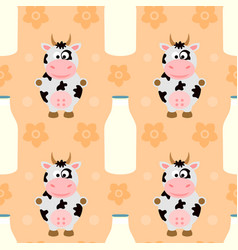Seamless background with funny cow vector