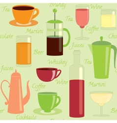 Seamless pattern with drinks and text vector image vector image