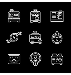 Set line icons of electrical generator vector
