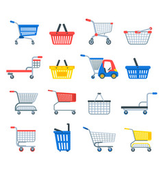 shopping cart shop pushcart trolley shopper vector image