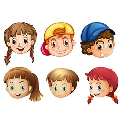 Six different faces vector image