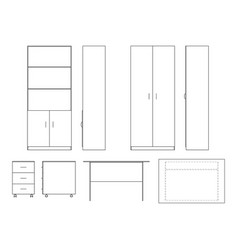 sketch office furniture vector image vector image