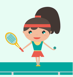 smiling sportswoman young tennis player holding vector image vector image