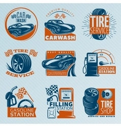 Tire service emblem set vector