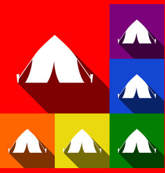 Tourist tent sign set of icons with flat vector