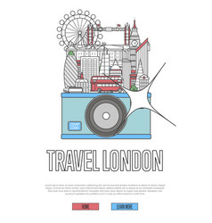 Travel london poster with camera vector