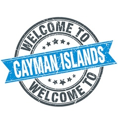 Welcome to cayman islands blue round vintage stamp vector