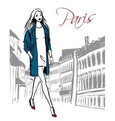 Woman walking in paris vector