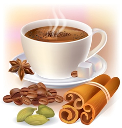 Aromatic coffee with spices vector image