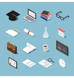 Isometric college objects set vector