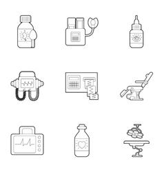 Diagnostic equipment icons set outline style vector