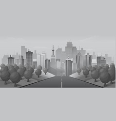 Grey road to urban city vector