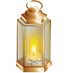 Lantern with a candle vector