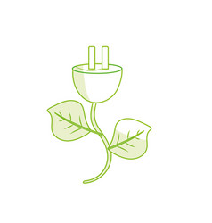 Silhouette power cable with leaves to environment vector