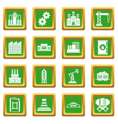 Industry icons set green vector