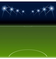 Green soccer field bright spotlights vector image