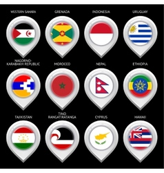 Map marker with flag-set fifteen vector image