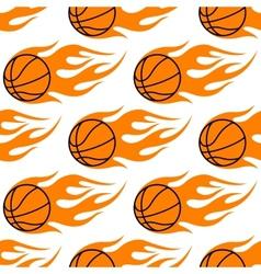 Flaming basketballs seamless pattern vector image