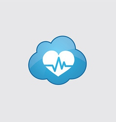 Blue cloud heart pulse icon vector