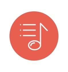 Musical note with bar lines thin line icon vector