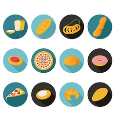 Collection of flat bread icons vector