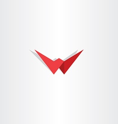 Letter w red symbol logotype element vector