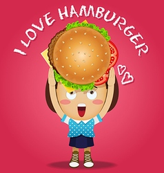 Happy woman carrying big hamburger vector
