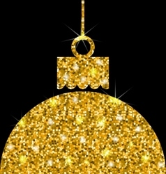 Christmas ball with golden sparkle surface vector