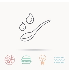 Spoon with water drops icon baby medicine dose vector