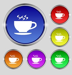The tea and cup icon sign round symbol on bright vector