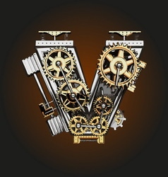 V letter with gears vector