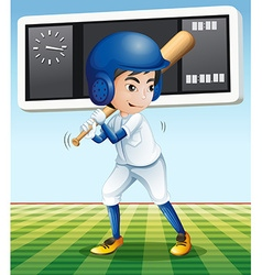 Baseball player with baseball bat in the field vector image