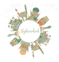 Abstract Hyderabad Skyline with Color Landmarks vector image