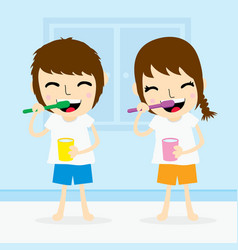 Boy and girl clean tooth brush daily cartoon vector