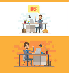 Businessman character with computer vector