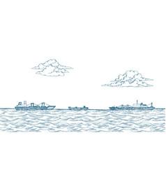 Cargo ships clouds sea vector