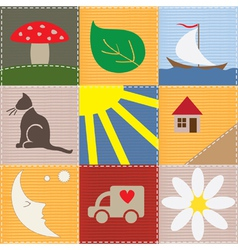 children patchwork vector image vector image