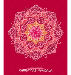 Christmas mandala with decorative holidays element vector