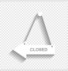 Closed sign white icon with vector