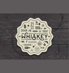 coaster for whiskey and alcohol beverage vector image