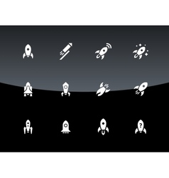 Cosmos rocket icons on black background vector image