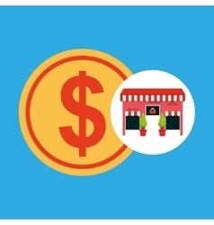 Cute store shopping money dollar vector